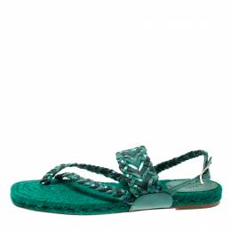 Hermes Green Braided Leather/Canvas Espadrille Flat Sandals Size 41