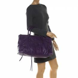Balenciaga Purple Leather RH Work Tote 208985