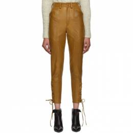 Isabel Marant Brown Leather Cadix Pants PA1353-19A003I