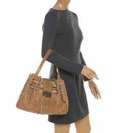 Jimmy Choo Tan Leather and Snakeskin Trimmed Ramona Tote 208269