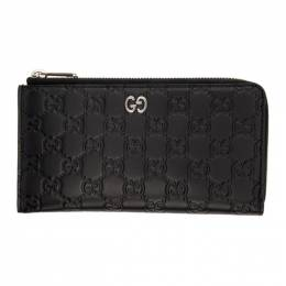 Gucci Black GG Print Signature Zip Wallet 574745 CWC1N