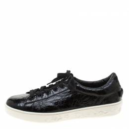 Dior Black Patent Crinkled Leather Move Low Top Sneakers Size 39 209420