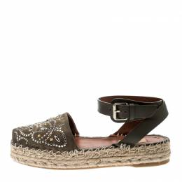 Valentino Army Green Embellished Suede and Leather Ankle Strap Espadrilles Size 38