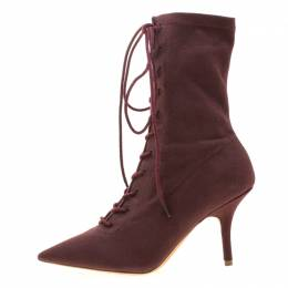 Yeezy Season 5 Burgundy Canvas Lace Up Pointed Toe Ankle Boots Size 36.5 209220
