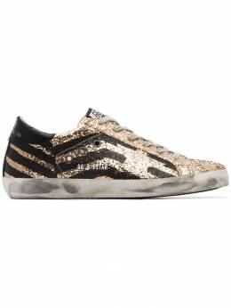 Golden Goose Deluxe Brand black and metallic gold superstar leather sneakers G33WS590H70