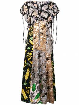 3.1 Phillip Lim Long Patchwork-Print Dress E1919460PNC