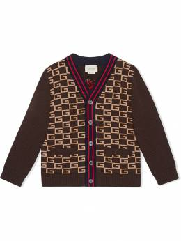 Gucci Kids кардиган с узором 'G' и пантерой 541375XKAAC