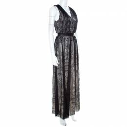 Alice+Olivia Black Lace Leather Trim Sleeveless Sybil Maxi Dress S 211158