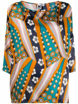 M Missoni - printed cropped sleeve blouse 666560W669B950399300