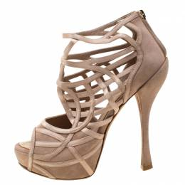 Dior Beige Satin And Suede Cut Out Open Toe Platform Sandals Size 37 210172