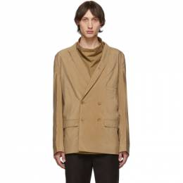 Lemaire Tan Dry Silk Double-Breasted Blazer 192646M19500303GB