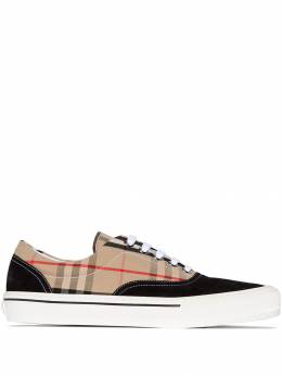 Burberry - black and beige wilson panelled check low top sneakers 63699393956300000000