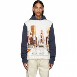 Lanvin White and Navy Babar NY Hoodie 192254M20207903GB