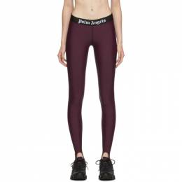 Palm Angels Burgundy Sport Leggings 192695F08500204GB