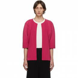 Homme Plisse Issey Miyake Pink Pleated Open Front Cardigan 192729M20000302GB
