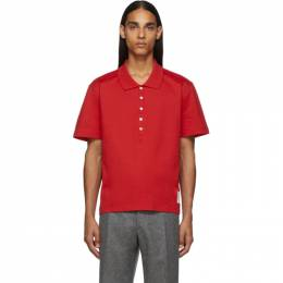 Thom Browne Red Relaxed Fit Polo 192381M21200506GB