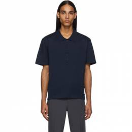 Thom Browne Navy Relaxed Fit Polo 192381M21200307GB