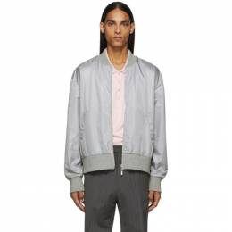 Thom Browne Grey Ripstop Center-Back Stripe Bomber Jacket 192381M17500504GB