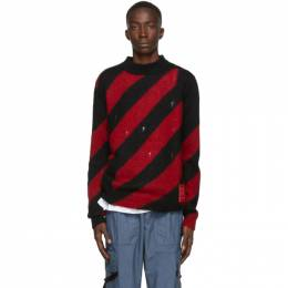Off-White Red Mohair Diag Sweater 192607M20100504GB