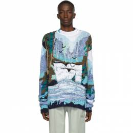 Off-White Blue and White Waterfall Sweater 192607M20100406GB