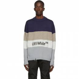 Off-White Blue and Black Logo Sweater 192607M20100107GB