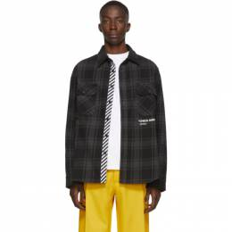 Off-White SSENSE Exclusive Black Quote Flannel Shirt 192607M19200802GB