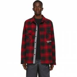 Off-White SSENSE Exclusive Red Quote Flannel Shirt 192607M19200704GB