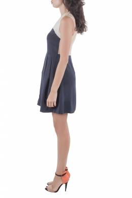 3.1 Philip Lim Navy Blue and Beige Silk Color Block Dress S 3.1 Phillip Lim 211406