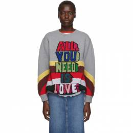 Stella Mccartney Grey The Beatles Edition Virgin Wool All You Need Is Love Sweater 192471F09602302GB