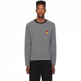 Ami Alexandre Mattiussi Black and White Striped Smiley Edition Long Sleeve T-Shirt 192482M21301501GB