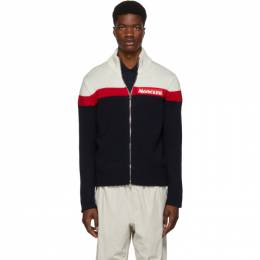 Moncler Off-White and Navy Maglione Tricot Zip Sweater 192111M18000203GB