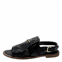 Chanel Black Quilted Leather Chain Link Flat Sandals Size 35.5 211531