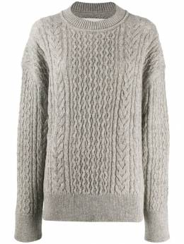 Jil Sander - crew neck cable knit sweater P350598WPY0636895365