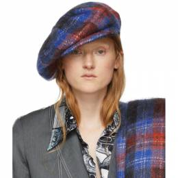 Blue and Red Tartan Flat Cap Charles Jeffrey Loverboy CJLAW19FC