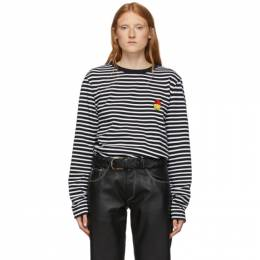 Ami Alexandre Mattiussi Black and White Smiley Edition Striped Long Sleeve T-Shirt 192482F11000104GB