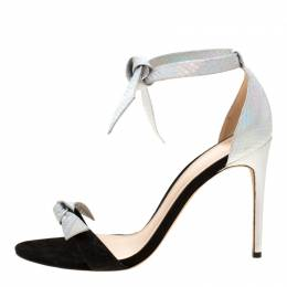 Alexandre Birman Metallic Silver Python Embossed Leather Ankle Tie Sandals Size 40 210954