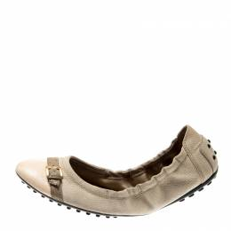 Tod's Beige/Pale Pink Textured Leather Buckle Detail Scrunch Ballet Flats Size 38.5 Tod's 211594