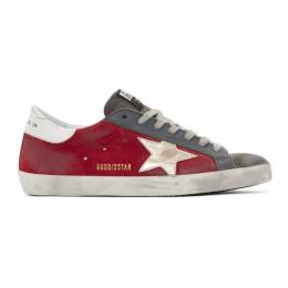 Golden Goose Deluxe Brand Red and Grey Suede Superstar Sneakers G35MS590.Q54