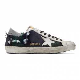 Golden Goose Deluxe Brand Green and Black Check Superstar Sneakers G35MS590.Q86