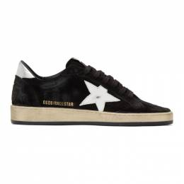 Golden Goose Deluxe Brand Black and Silver Suede Ball Star Sneakers G35MS592.Z4