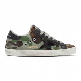 Golden Goose Deluxe Brand Green and Black Camo Canvas Superstar Sneakers G35MS590.Q52
