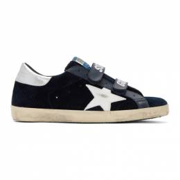 Golden Goose Deluxe Brand Navy and White Corduroy Old School Superstar Sneakers G35MS206.A7