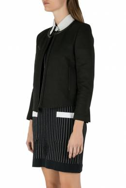 IRO Black Twill Leather Trim Open Front Tim Jacket M 212492
