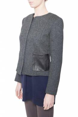 Theory Charcoal Grey Wool Leather Pocket Detail Hilde Jacket M 212434