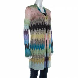 Missoni Multicolor Lurex Knit Open Front Cardigan S 212411
