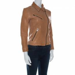 Prada Beige Lamb Leather Zip Front Biker Jacket S 212268