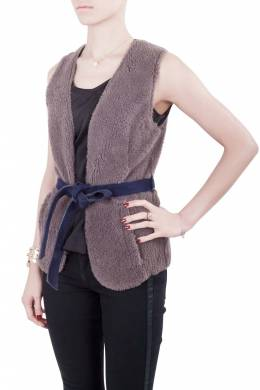 Moschino Cheap and Chic Gray Lamb Fur Leather Lined Belted Gilet S 212449