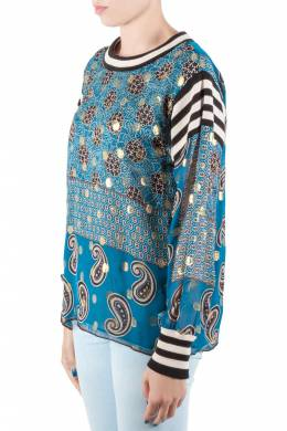 Anna Sui Teal Blue Bouquet Scarf Print Silk Ribbed Trim Tunic Top M 212500