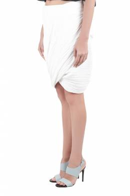 Dion Lee White Pleated Crepe Drape Front Skirt M 212510