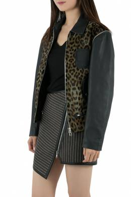 Faith Connexion Khaki and Navy Cheetah Print Detachable Sleeve Detail Moto Jacket XS 212688